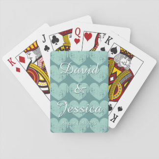 Personalized turquoise heart wedding playing cards