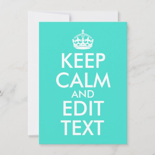 Personalized Turquoise Keep Calm and Carry On Note Card