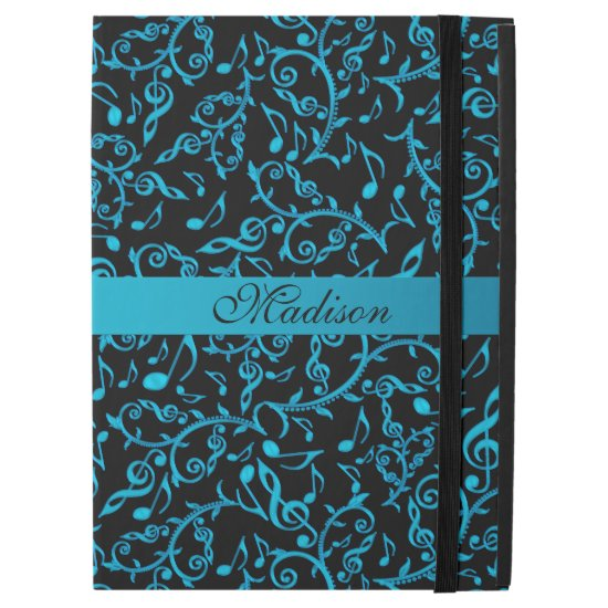 Personalized Turquoise Music Notes iPad Pro Case