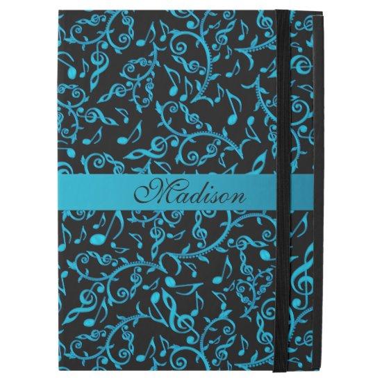 Personalized Turquoise Music Notes iPad Pro Case