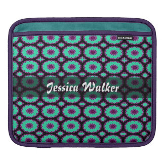 Personalized turquoise purple fancy circle pattern iPad sleeves