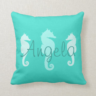 Personalized Turquoise Sea Horses Throw Pillow