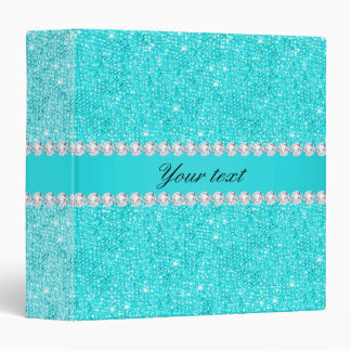Personalized Turquoise Sequins and Diamonds Binder