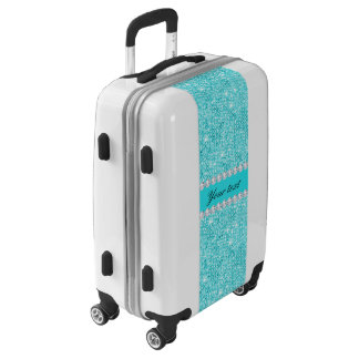 Personalized Turquoise Sequins and Diamonds Luggage