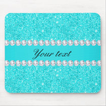 Personalized Turquoise Sequins and Diamonds Mouse Pad