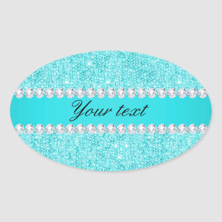 Personalized Turquoise Sequins and Diamonds Oval Sticker