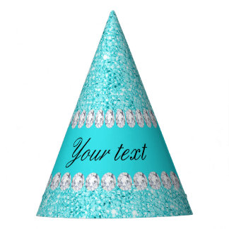 Personalized Turquoise Sequins and Diamonds Party Hat