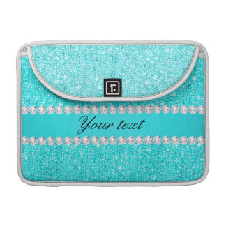 Personalized Turquoise Sequins and Diamonds Sleeve For MacBooks