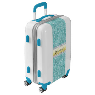 Personalized Turquoise Sequins Gold Diamonds Luggage