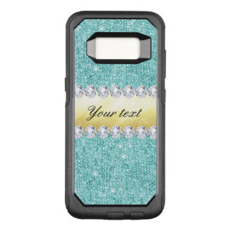 Personalized Turquoise Sequins Gold Diamonds OtterBox Commuter Samsung Galaxy S8 Case