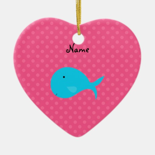 Personalized turquoise whale pink polka dots Double-Sided heart ceramic christmas ornament