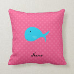 Personalized turquoise whale pink polka dots pillow