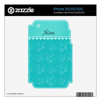 Personalized turquoise white baby carriages decal for the iPhone 3