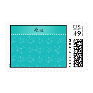 Personalized turquoise white baby carriages stamp