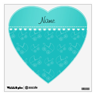Personalized turquoise white baby carriages wall stickers