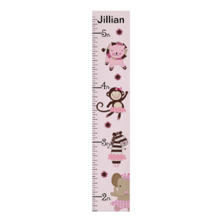 Personalized Tutu Cute Ballet Animals Growth Chart
