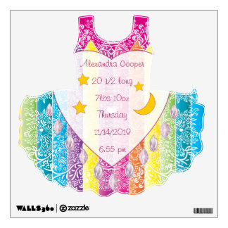 Personalized TuTu Girl Baby Stats Wall Decal