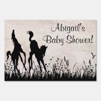 Personalized Twin Foals Horse Baby Shower Sign