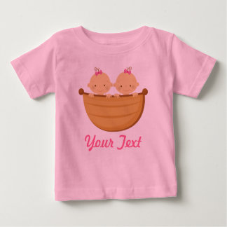 Personalized Twin Girls in a boat Tshirts