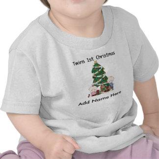 Personalized Twins 1st Christmas Tshirt