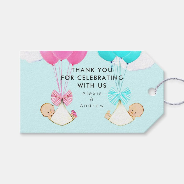 x20 Personalised Baby shower Thank You Favour Twin Tags Unisex Lioness and cubs