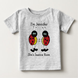 Personalized Twins Ladybug Friends Infant T-shirt