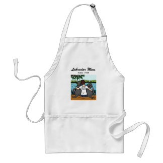 Personalized Two Black Labradors and Mom Adult Apron