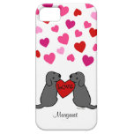 Personalized Two Black Labradors Cartoon iPhone 5 Cases