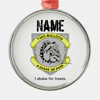 Personalized Two Bulldog Brand Name Tag Ornaments