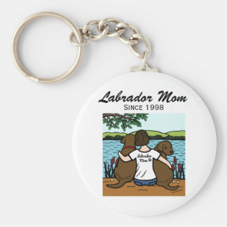 Personalized Two Chocolate Labradors and Mom Keychain
