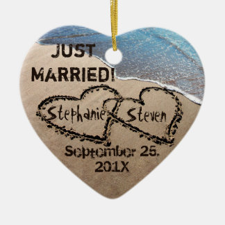 Personalized Two Hearts In The Sand Heart Ornament Christmas Ornaments