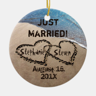Personalized Two Hearts In The Sand Ornament