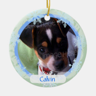 Personalized Two Sided Photo Frame Blue & Green Ceramic Ornament
