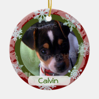 Personalized Two Sided Photo Frame Red and Green Ceramic Ornament
