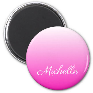 Personalized two-tone gradient ombre hot pink magnet