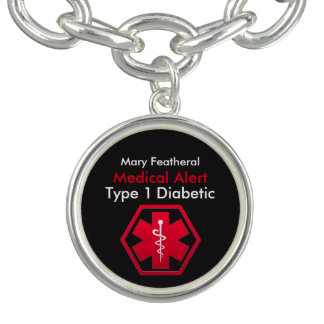 Personalized Type 1 Diabetic Medical Alert Charm Bracelets