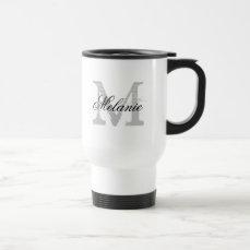 Personalized typography monogram to go travel mug