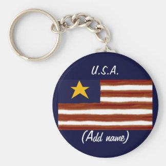 Personalized U.S.A. Flag Keychain