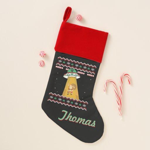 Personalized UFO Abducting Santa Ugly Xmas Sweater Christmas Stocking