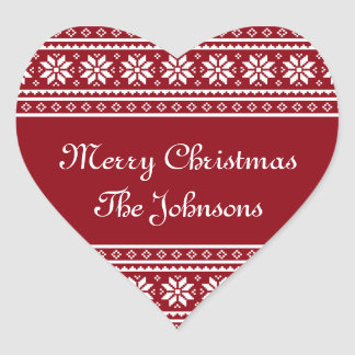 Personalized UGLY CHRISTMAS SWEATER heart stickers