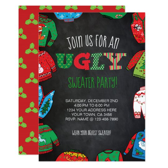 Personalized Ugly Sweater Party Invite Zazzle Com