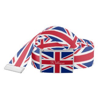 Personalized UK Union Jack British Flag Belt