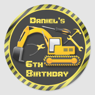 Personalized Under Construction Birthday Party Classic Round Sticker