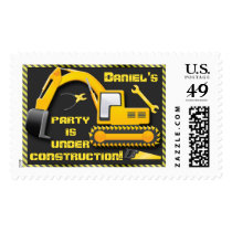 Personalized Under Construction Birthday Party Postage
