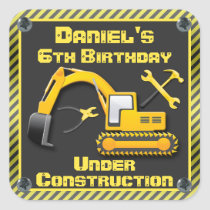 Personalized Under Construction Birthday Party Square Sticker