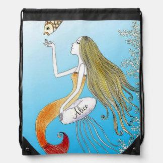 Personalized under the sea beautiful mermaid cinch bag