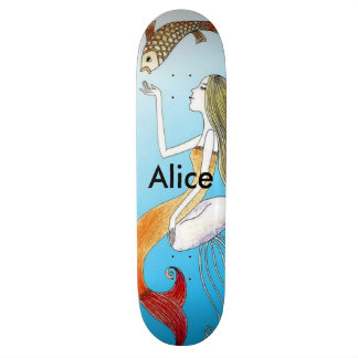 Personalized under the sea beautiful mermaid skateboard deck
