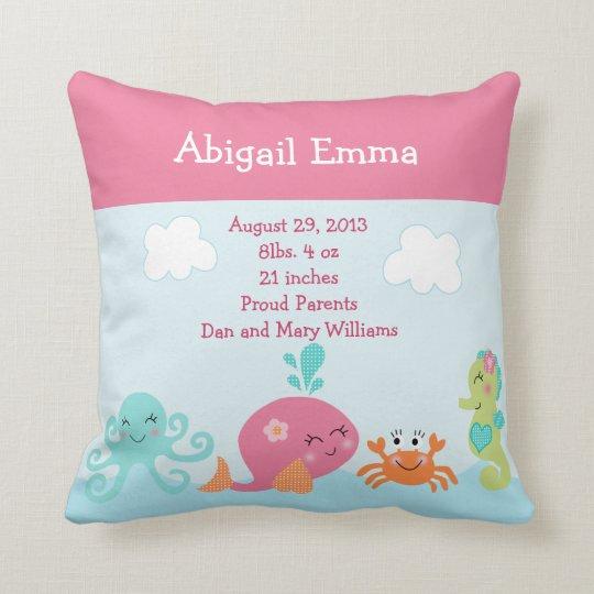 Personalized Under The Sea Life Pillow Keepsake Zazzle Com
