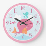 Personalized Under the Sea life Pink Whale Clock