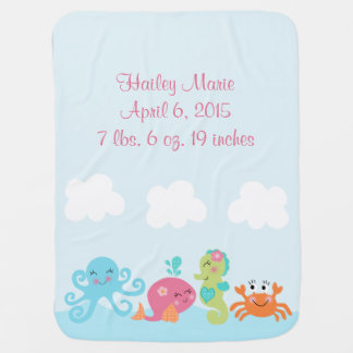 Personalized Under the Sea/Pink Whale Baby Swaddle Blanket